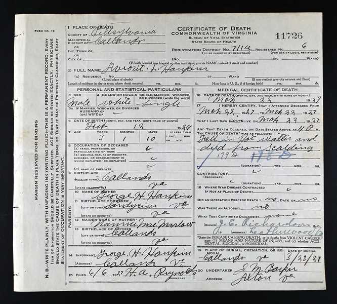 Documents: Death Certificate-Averett Hankins: The Reynolds Family